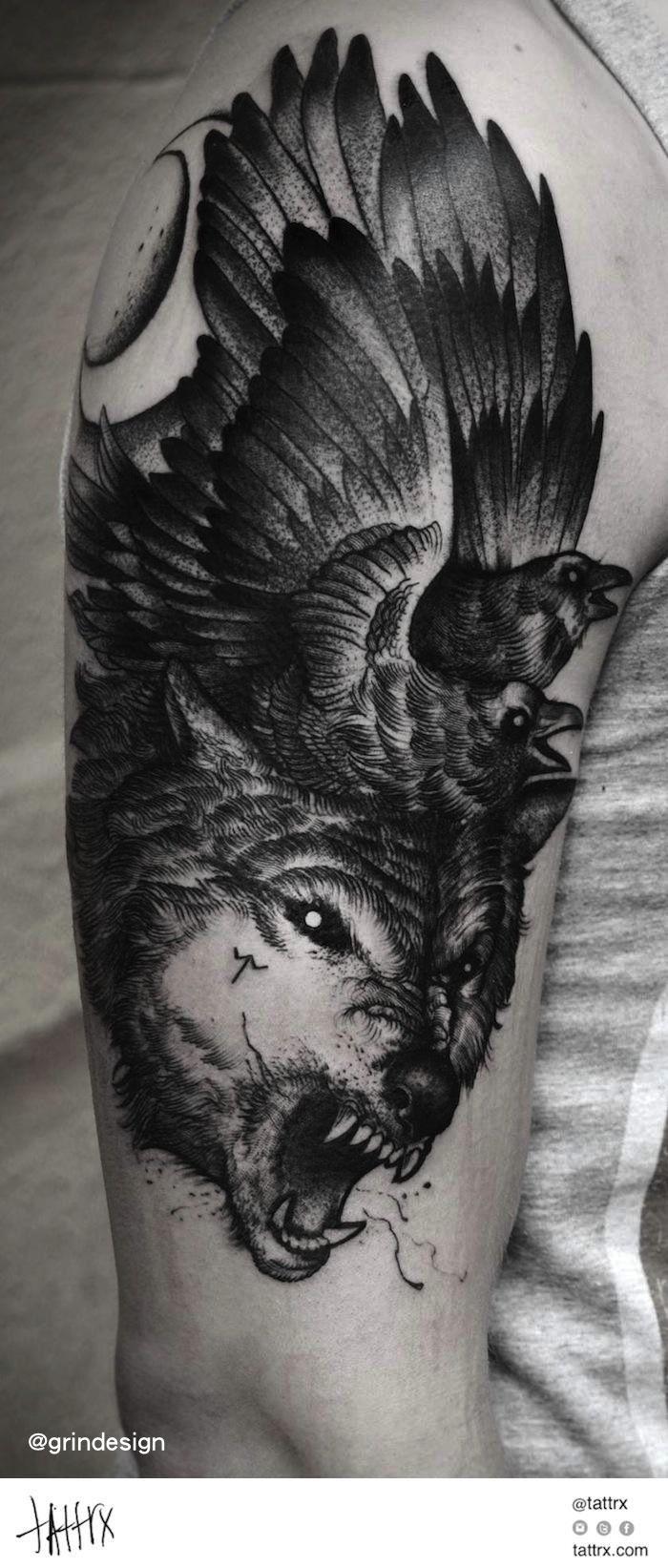 d15cb1367 Raven wolf tattoo   tattoo   Wolf tattoos, Woodcut tattoo, Tattoos
