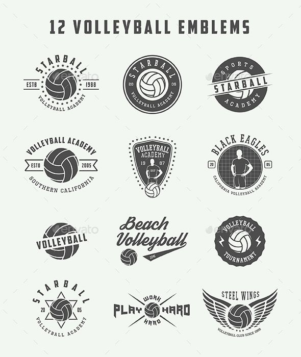 12 Volleyball Emblems Template PSD, Vector EPS, AI