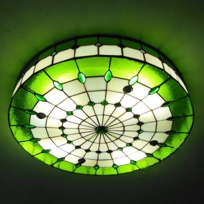 3 light round shade 16 inch stained glass tiffany flush mount 3 light round shade 16 inch stained glass tiffany flush mount ceiling light aloadofball Choice Image