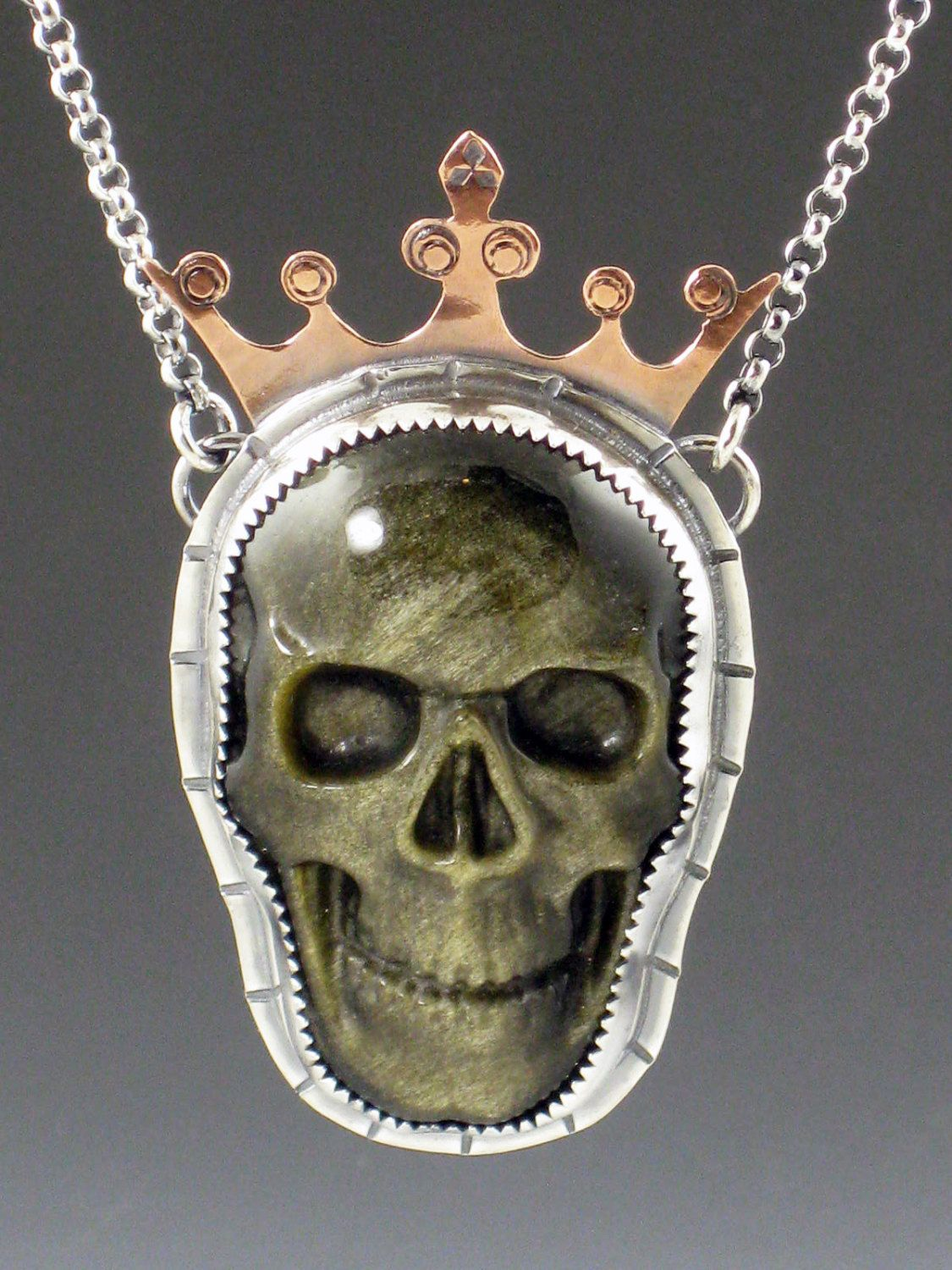 Rainbow obsidian skull necklace skull with crown sterling silver rainbow obsidian skull necklace skull with crown sterling silver skull necklace mixed metal skull pendant carved skull copper skull mozeypictures Image collections