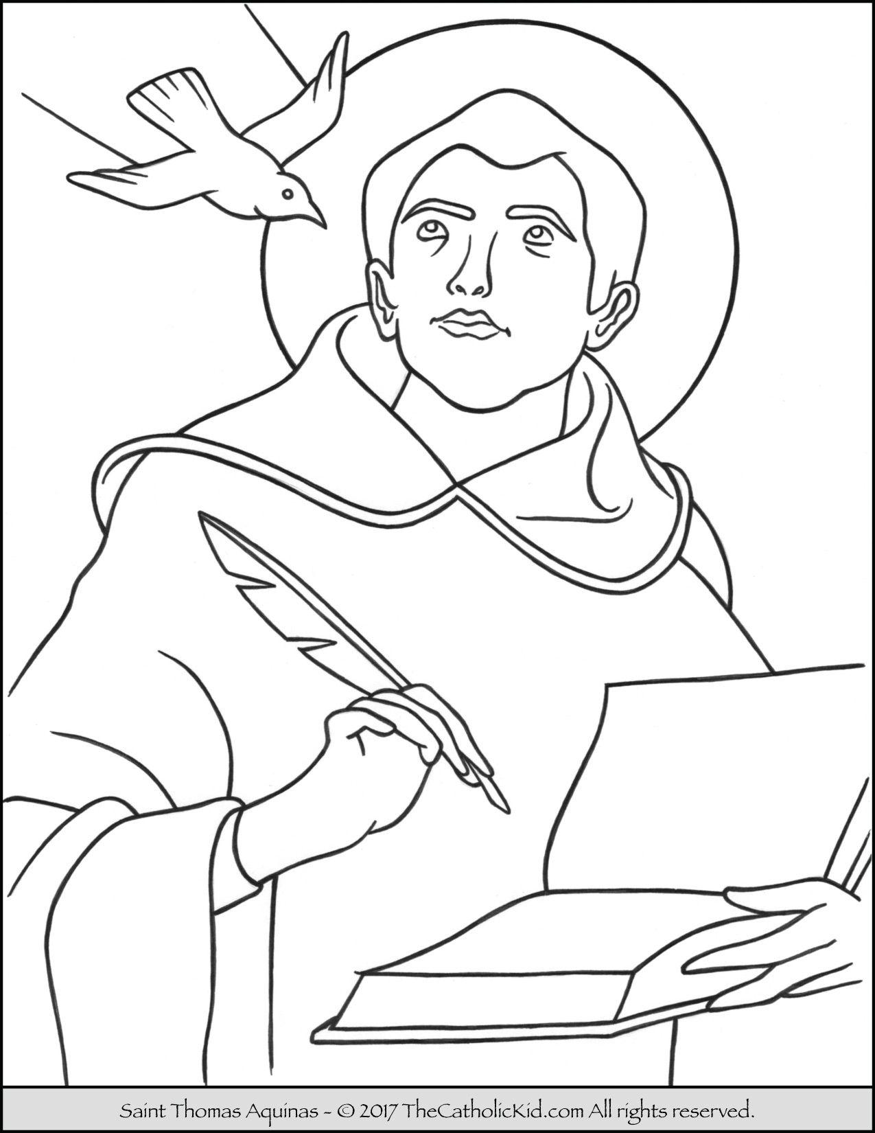 Saint Thomas Aquinas Coloring Page Thecatholickid Com Catholic