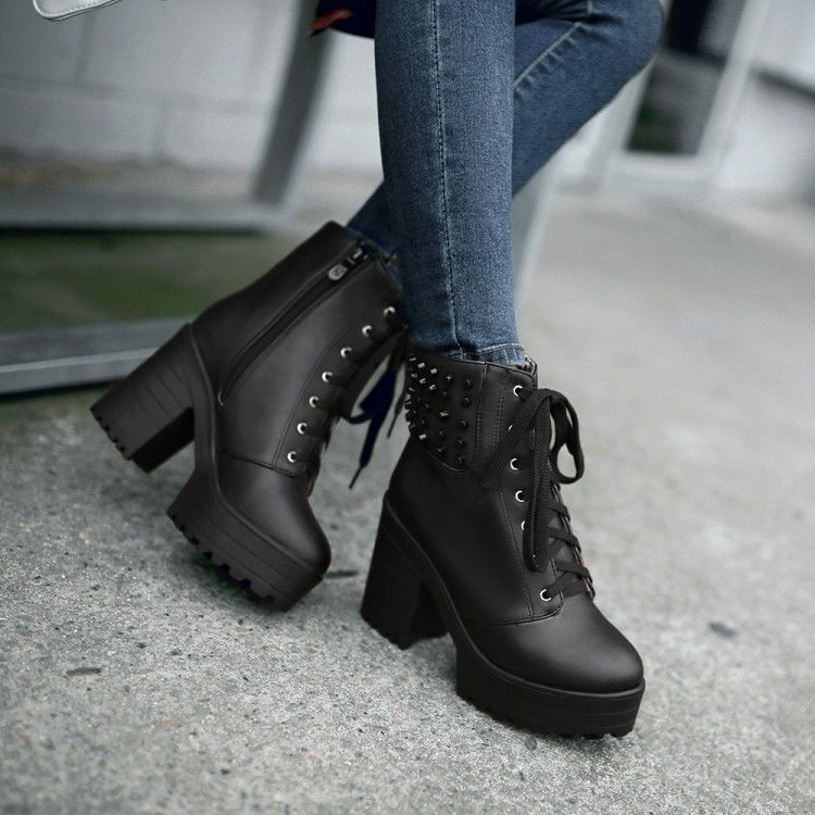 Womens Shoes Lace Up Platform Ankle Chunky Heel Booties
