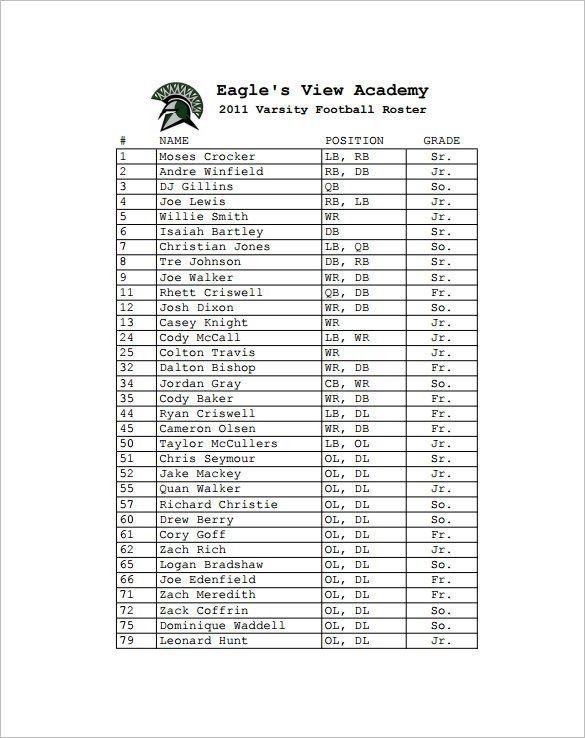 Sample football roster template pdf format also pinterest rh