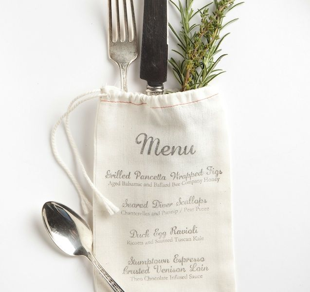 Jenn Blake of Phinney Ridge-based Bowtie & Bustle Event Design & Styling pulled together a sweet muslin menu bag that doubles as a guest favor when filled with herbs, local treats or even a packet of family recipes.