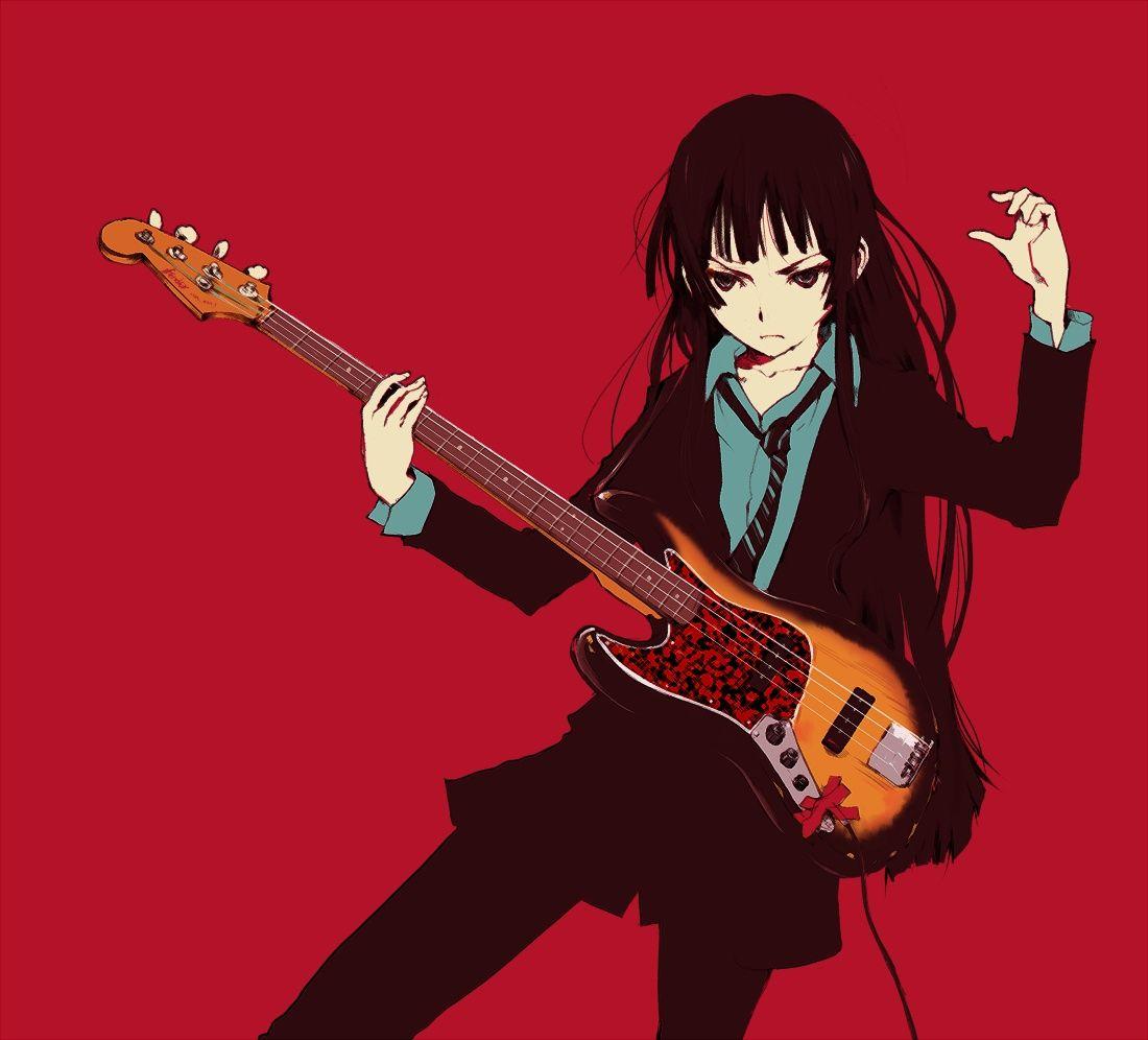 Akiyama mio anime black hair anime guitar illustration