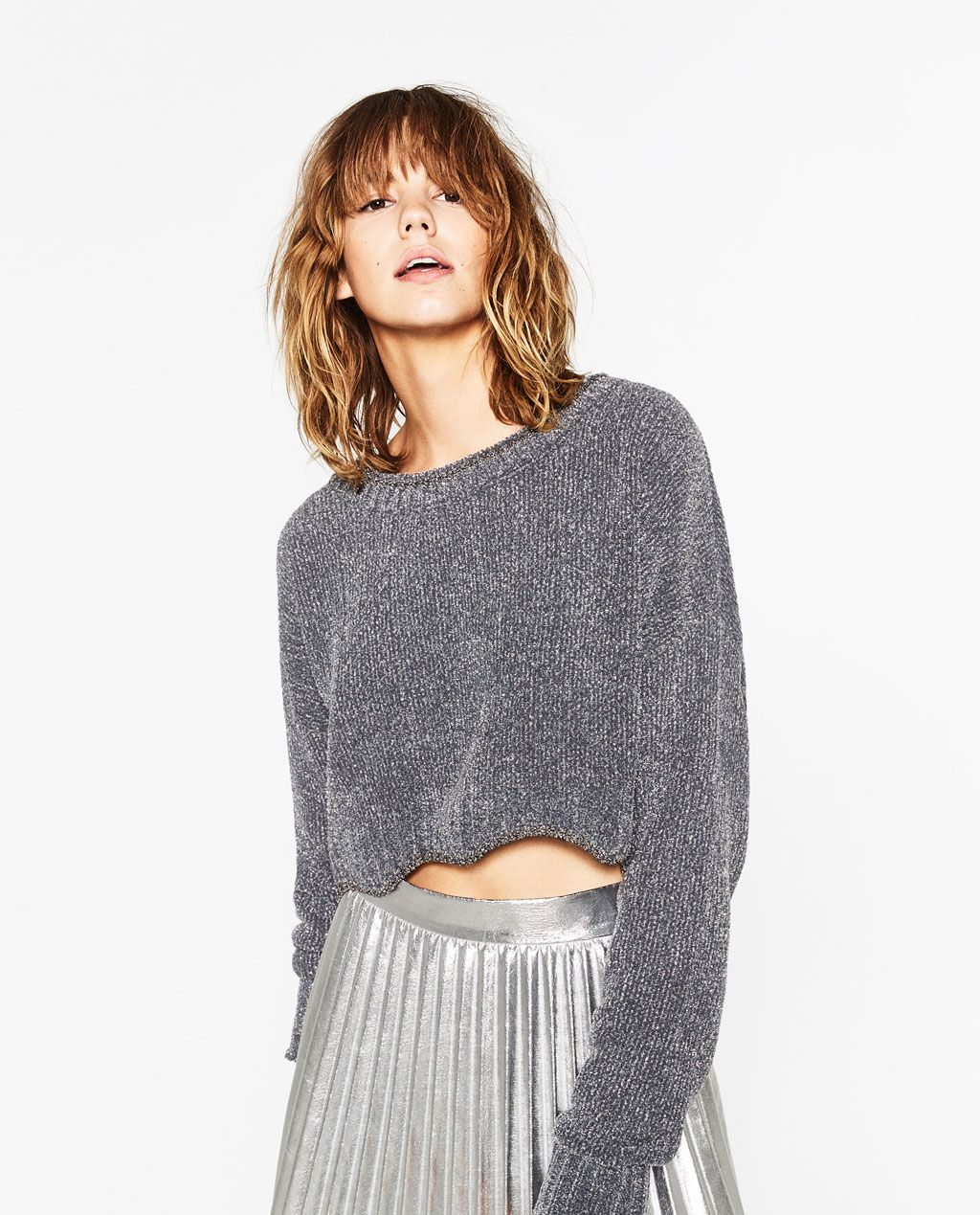 SHINY CROPPED SWEATER NEW IN WOMAN | ZARA United States