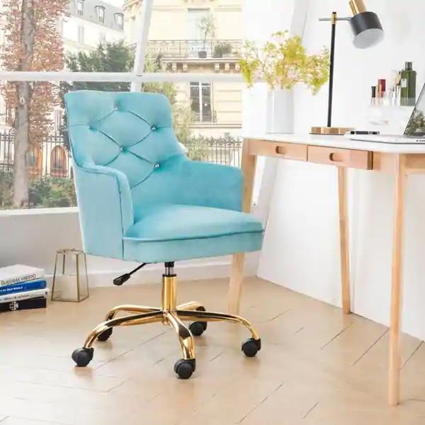 Ovios Cute Desk Chair Plush Velvet Office Chair For Girl Or Lady