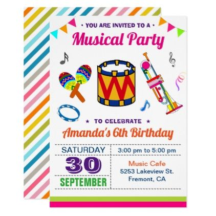music party colorful kids birthday invitation in 2018 various