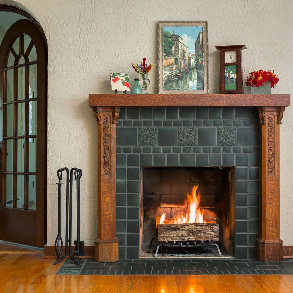 Leaves Berries Slate Fireplace Home Fireplace Craftsman