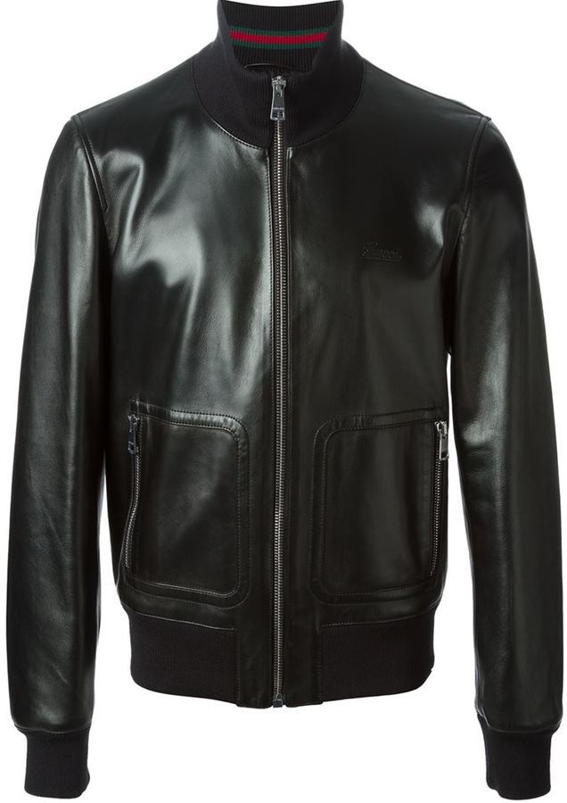 Mens winter · Gucci bomber jacket, Black leather bomber jacket from Gucci  featuring a high standing collar,