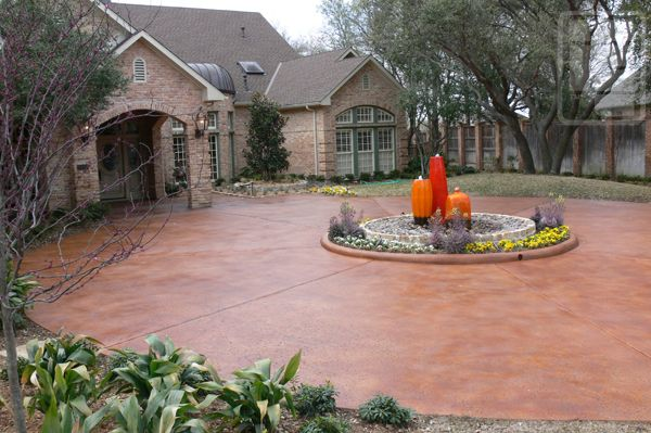 Nicely Executed Refinished Circular Driveway Patterned Concrete By Rey Plano Tx