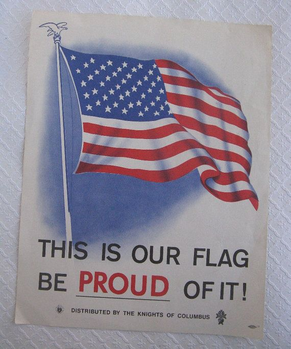 Vintage Knights Of Columbus Flag Print Knights Of Columbus Flag