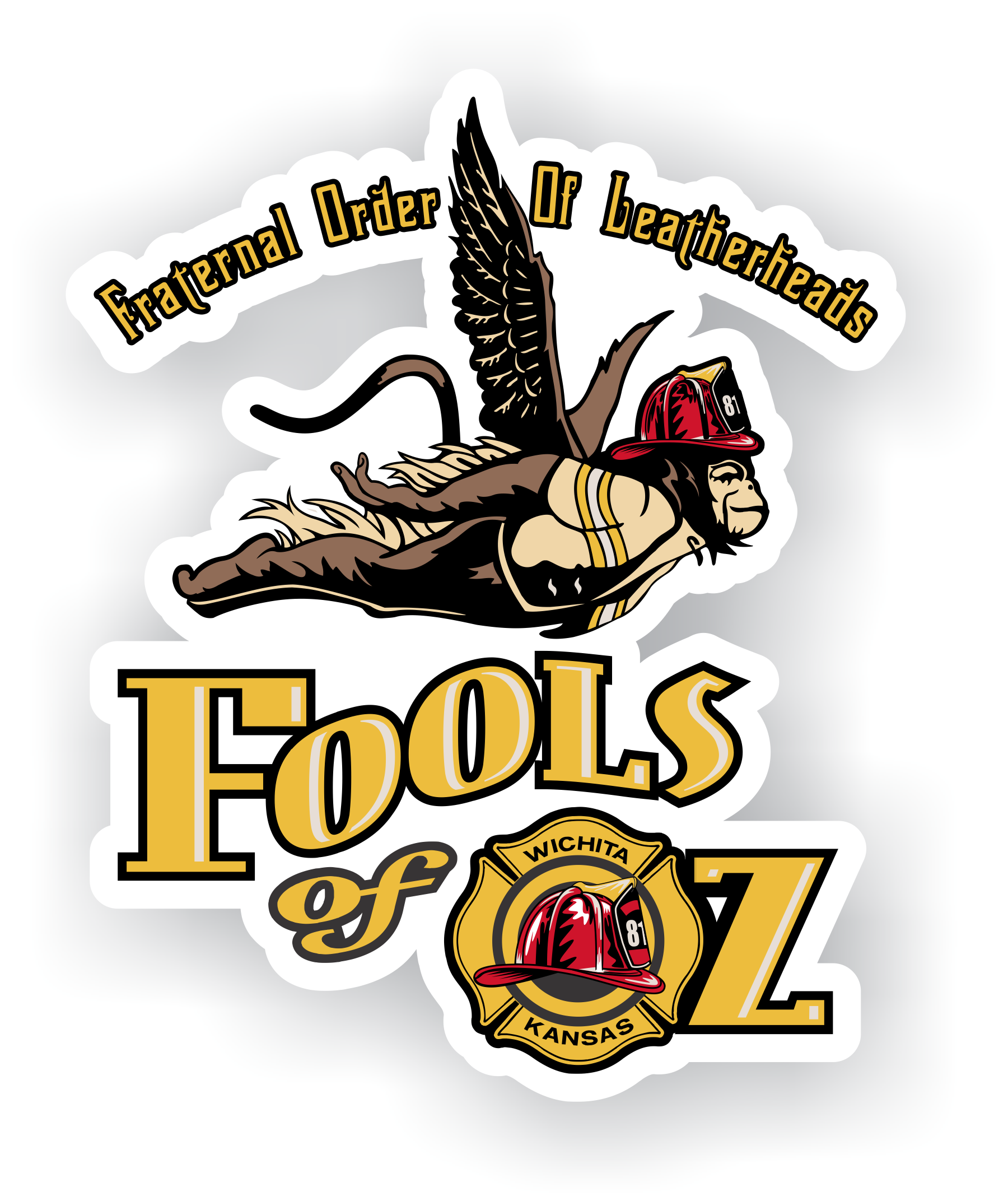 Custom stickers printed for fools of oz out of wichita ks by bomberodesigns com