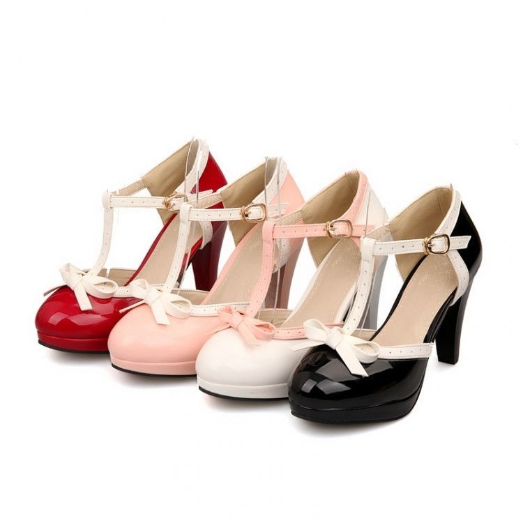 Sweet Color Lolita Bowknot T Strap Womens Mary Janes Pumps Heel Shoes Plus  Size