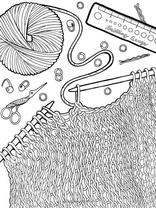 knitting coloring page adult coloring 2 pinterest
