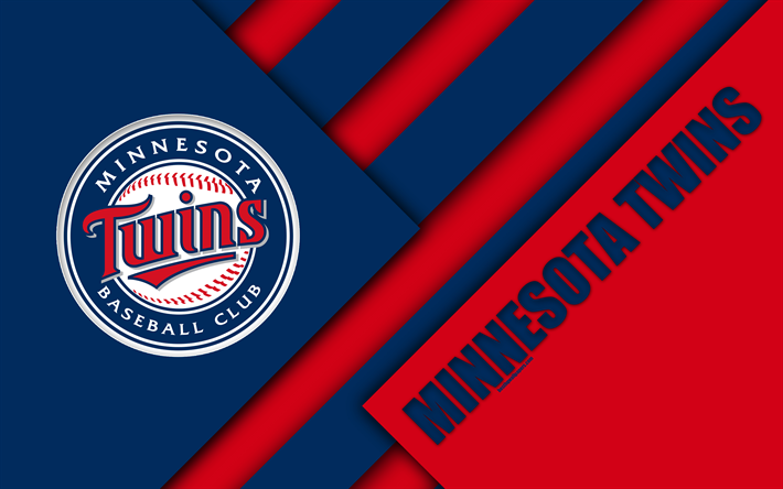 American Sports Material Wallpapers: Download Wallpapers Minnesota Twins, MLB, 4k, Red Blue