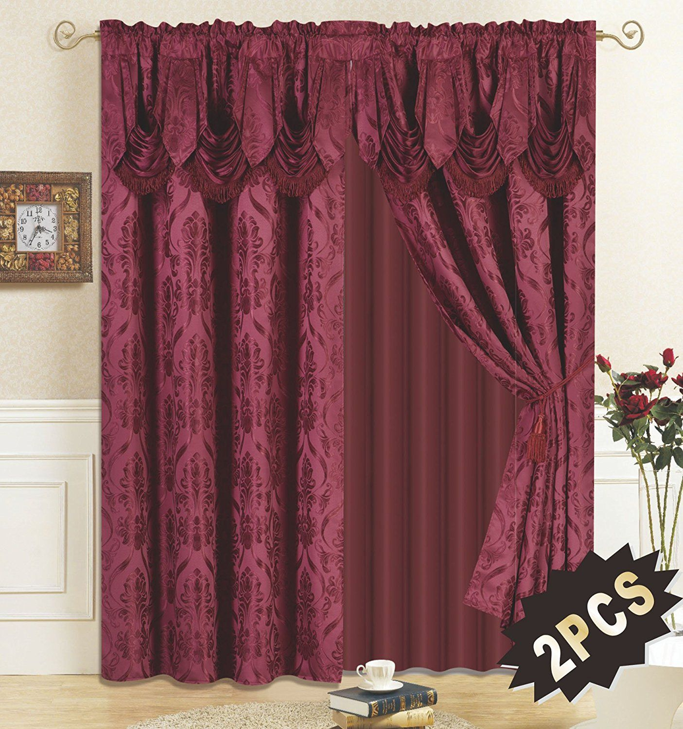 All American Collection New 4 Piece Drape Set with Attached Valance and Sheer with 2 Tie Backs Included Burgundy