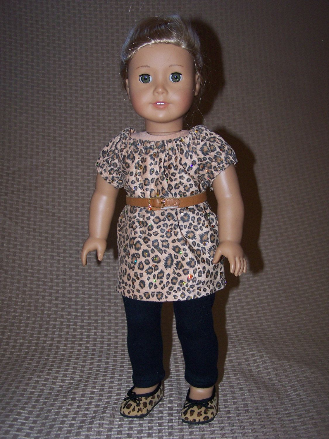 """18"""" Doll Clothes: Cheetah Peasant Top with Belt, Black Leggings and Cheetah Ballet Flats Outfit for American Girl by ICImagination on Etsy"""
