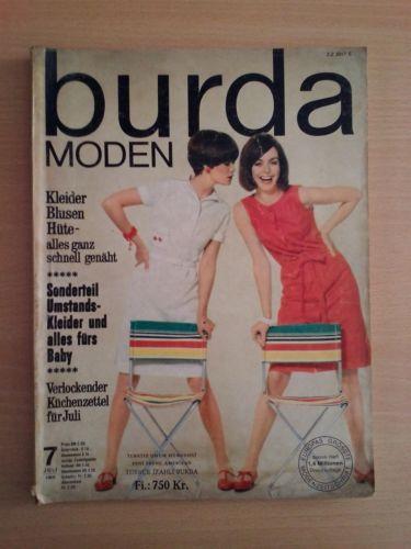 BURDA MODEN Sewing Magazine GERMAN 1966 Jul -All Uncut Patterns- Vintage Fashion