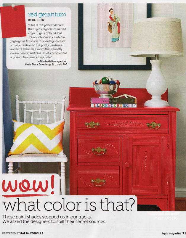 Red Geranium Glidden Paints Dresser Painted By Little Black Door And See In Hgtv Magazine Via Pink Paa