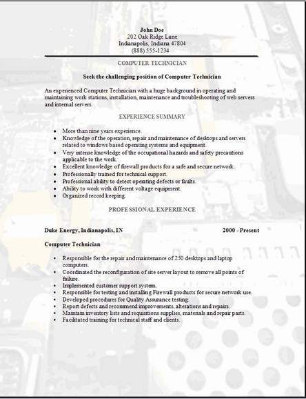 Computer Technician Resume3 ParhamkMusic Pinterest - computer repair technician resume