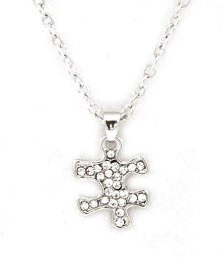 Mini Crystal Puzzle Piece Necklace Autism Awareness Silver Tone