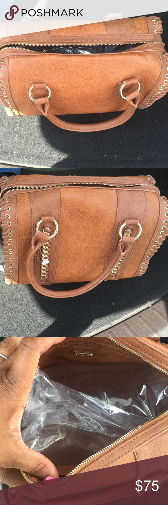 Brown purse Rectangle shaped purse by Aldo. Never worn.. Has gold accents and shoelace like stitching. Aldo Bags Satchels
