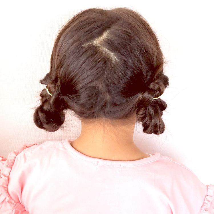 ゴムだけでも作れるツインまとめ髪ヘアアレンジ 女の子 髪型 アレンジ 子供髪型 女の子 子供 髪型
