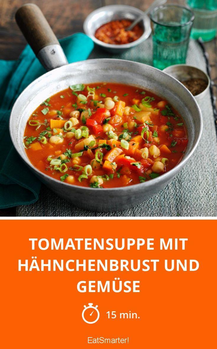 tomatensuppe mit h hnchenbrust und gem se rezept in 2018 vegetables soup pinterest. Black Bedroom Furniture Sets. Home Design Ideas