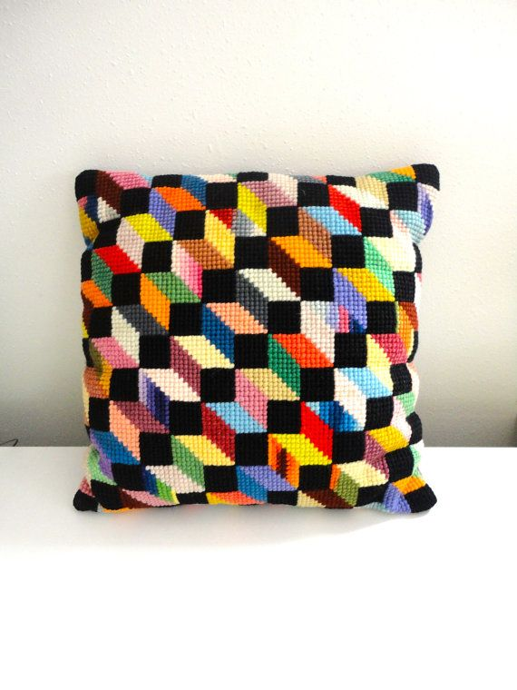 Vintage Modern Graphic Pair Of Colorful Pillows Jonathan Adler Style In  Needlepoint And Velvet