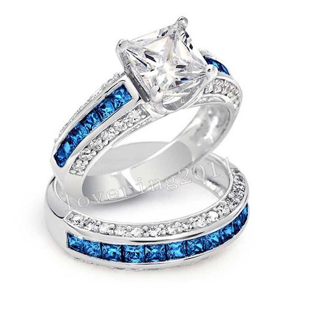 Luxury Jewelry Wholesale 10KT White Gold Filled Princess Cut Blue AAA CZ Zirdonia Simulated Stones Wedding
