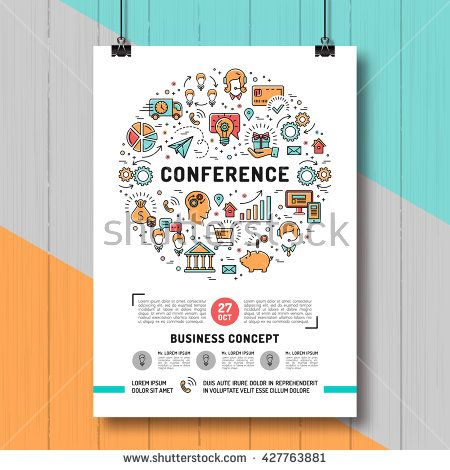 Vector business conference poster templates A4 size conference - fresh invitation banner vector