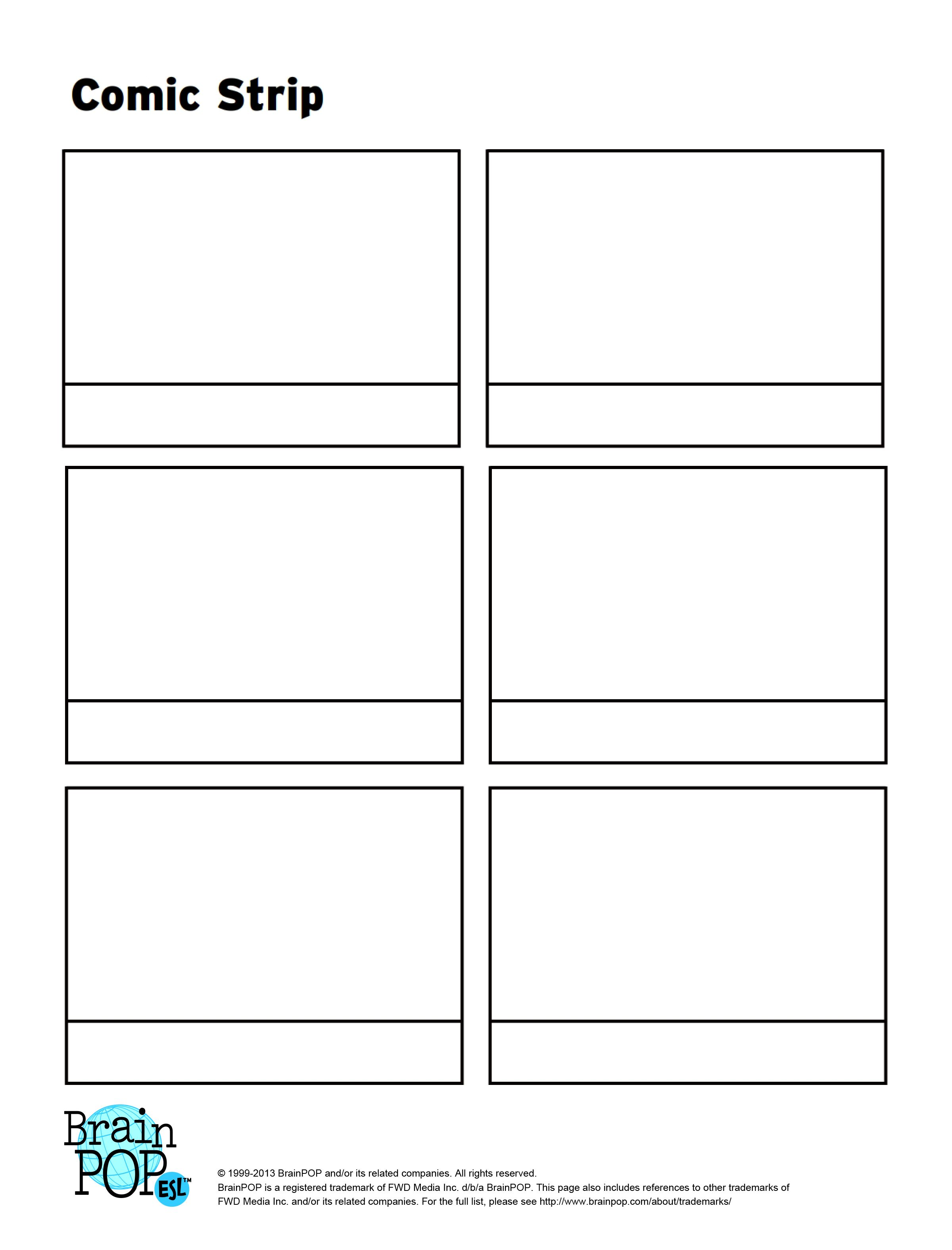Write sequence and illustrate a story using this blank for Comic strip template maker