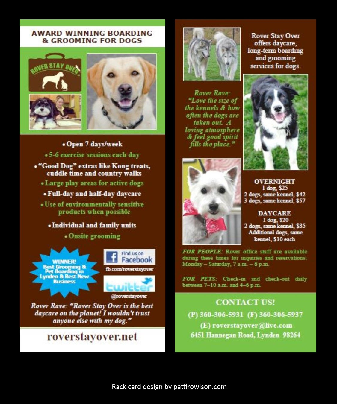 Rack Cards For Rover Stay Over Boarding Grooming And Dog Training