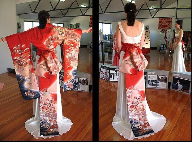 Japanese Kimono Style Wedding Dresses