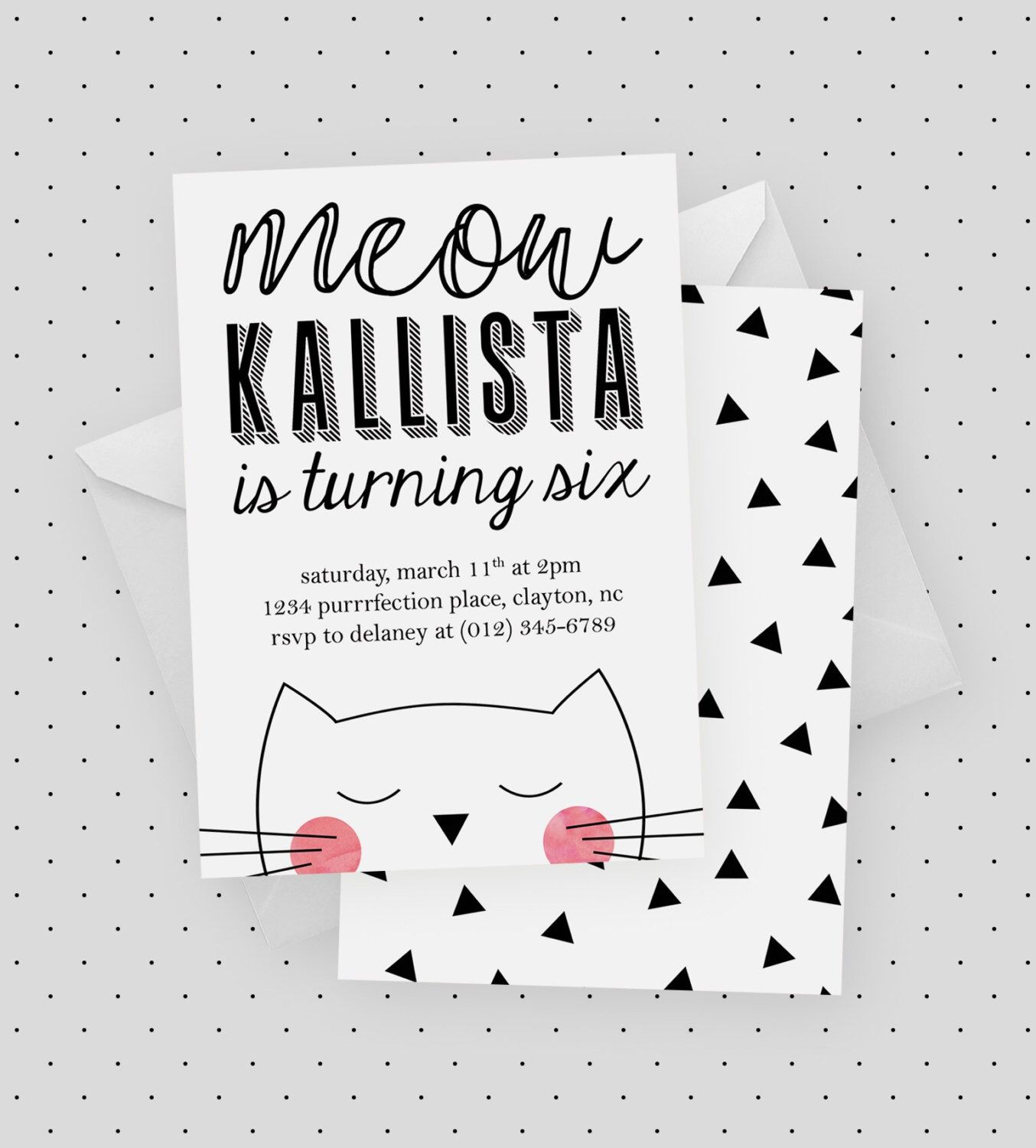 Cat Party Invitation | Cat Birthday Party, Kitten Party, Meow, Cat ...