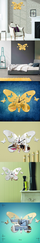 3D Butterflies Mirror Effect Wall Clock Sticker Fashion Design Art ...