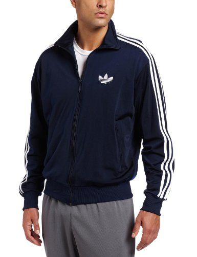 adidas Men's adi Firebird Track Top (Indigo, White, Medium) $68.00
