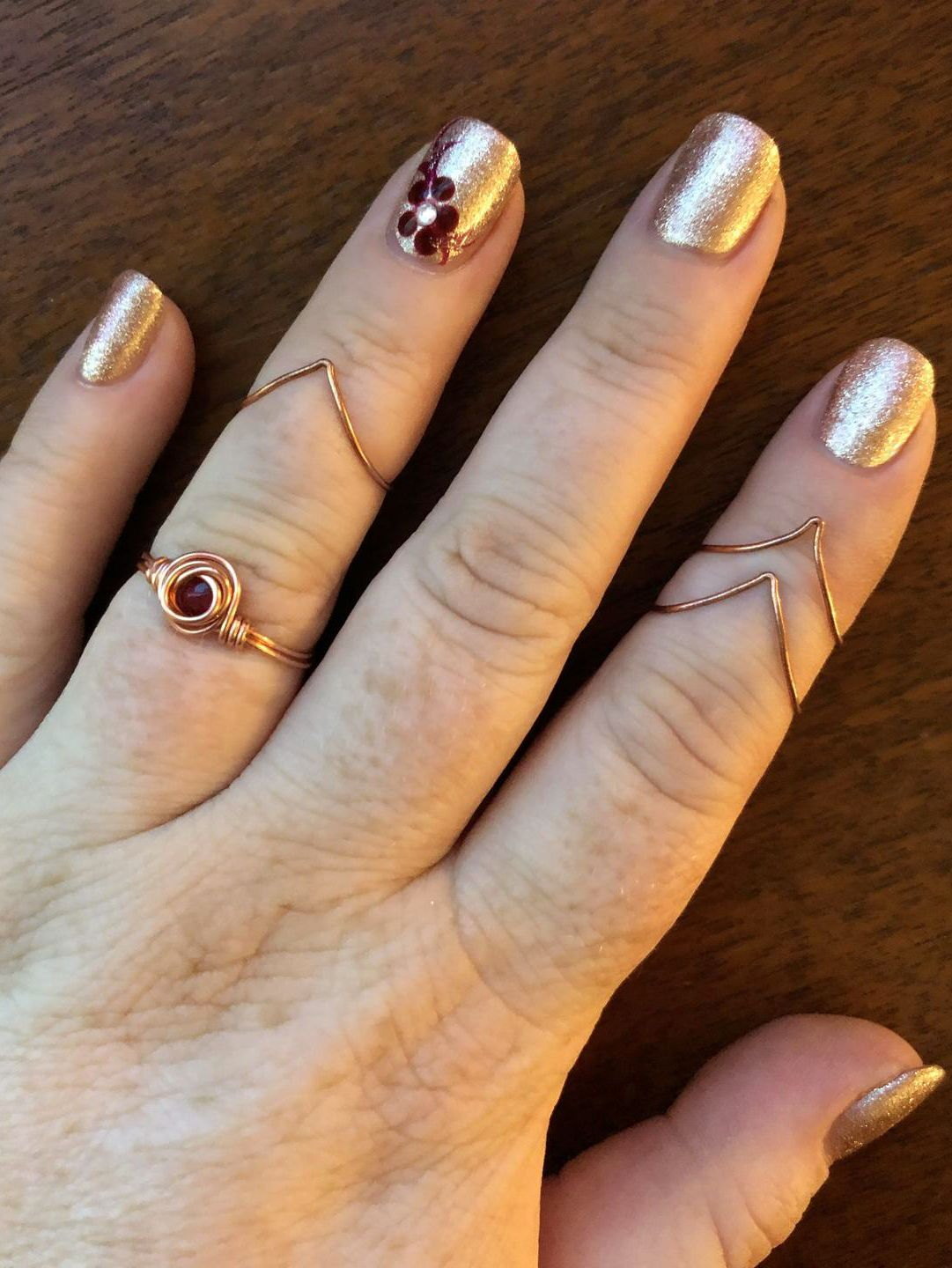 Adjustable Gold Plated Midi Ring Unique Design. Swiss Cheese Oval Midi Ring