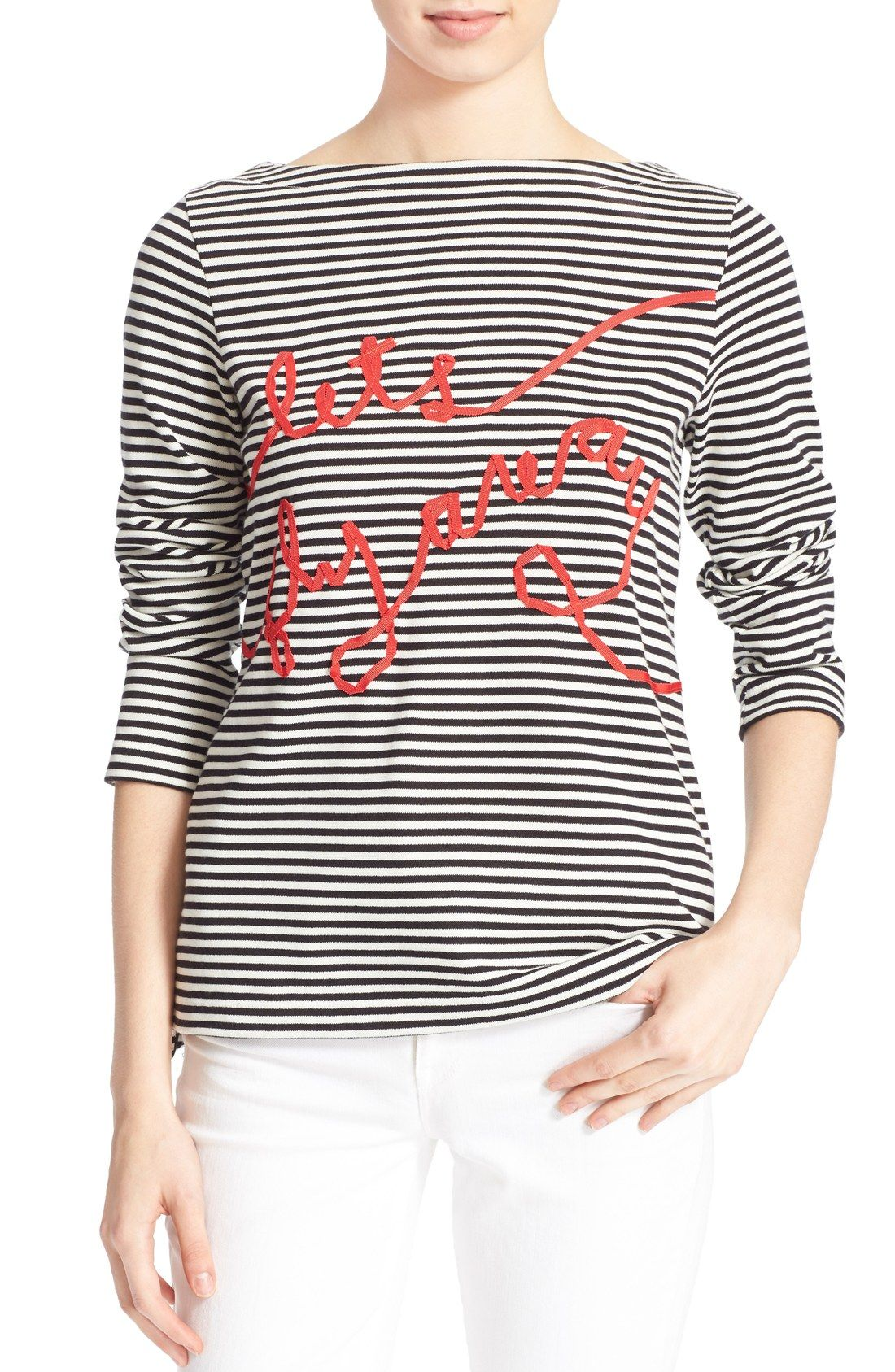 kate spade new york let s fly away embellished stripe tee