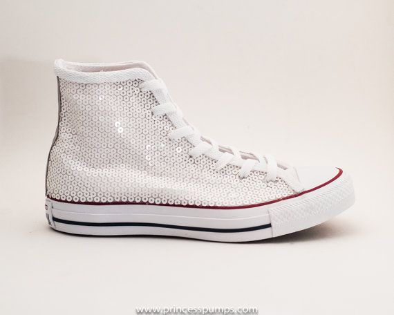 Sequin | Bridal White Converse All Star Hi Top Canvas Sneakers Shoes