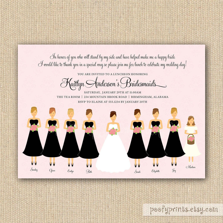 Bridesmaids Luncheon Invitation Printable Invitations With