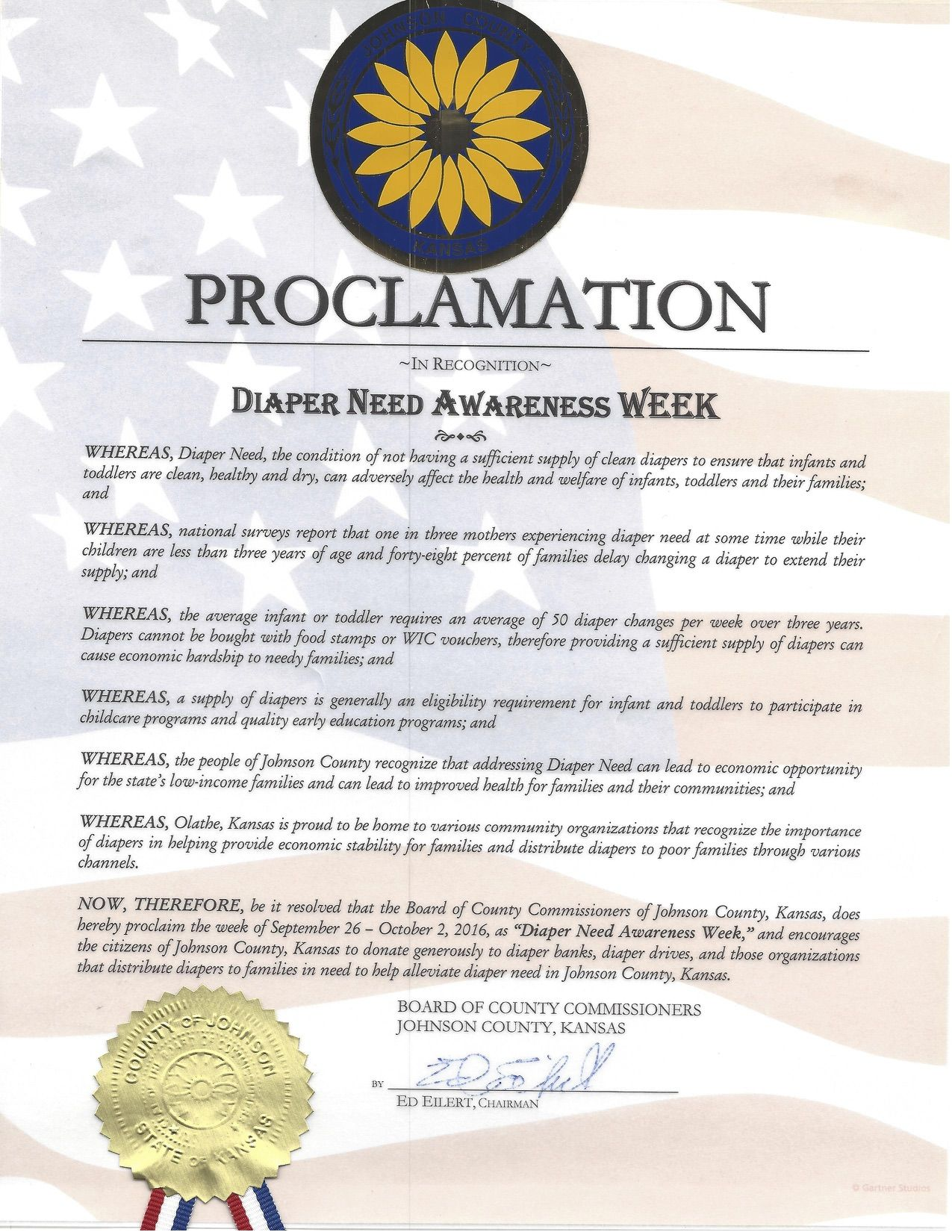 Johnson County, KS- Chairman proclamation recognizing Diaper Need Awareness Week (Sep. 26-Oct. 2, 2016) #DiaperNeed Diaperneed.org 16h