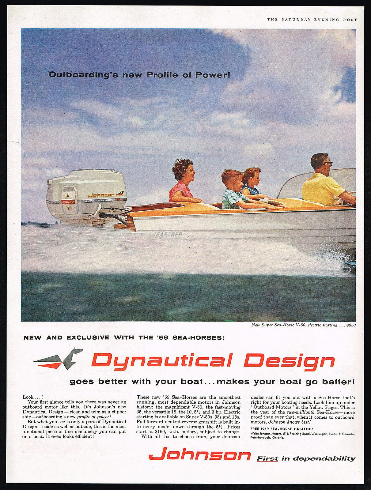 1959 Johnson Outboard Motor Ad Outboard Outboard Motors Diy Boat