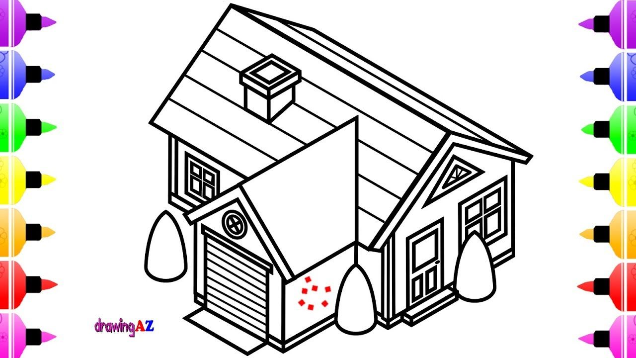 How to draw a house for kids 3d house colouring pages childrens coloring book