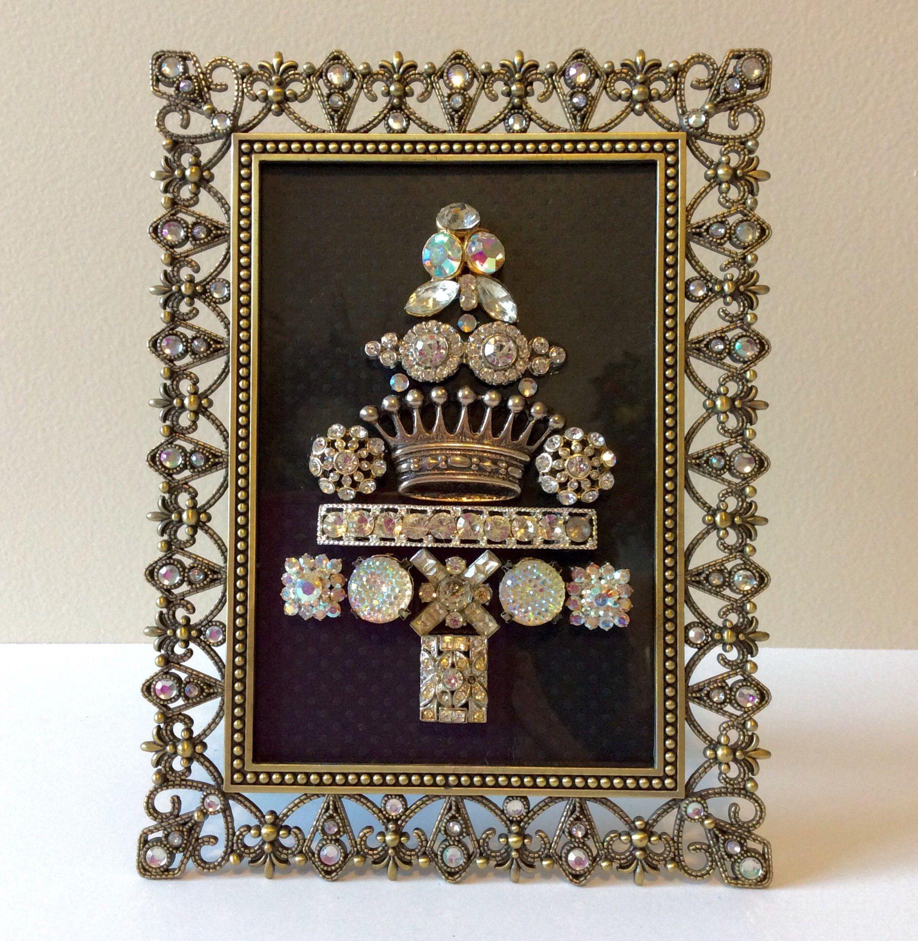 Vintage jewelry Christmas tree art in jeweled filigree frame   Deck ...
