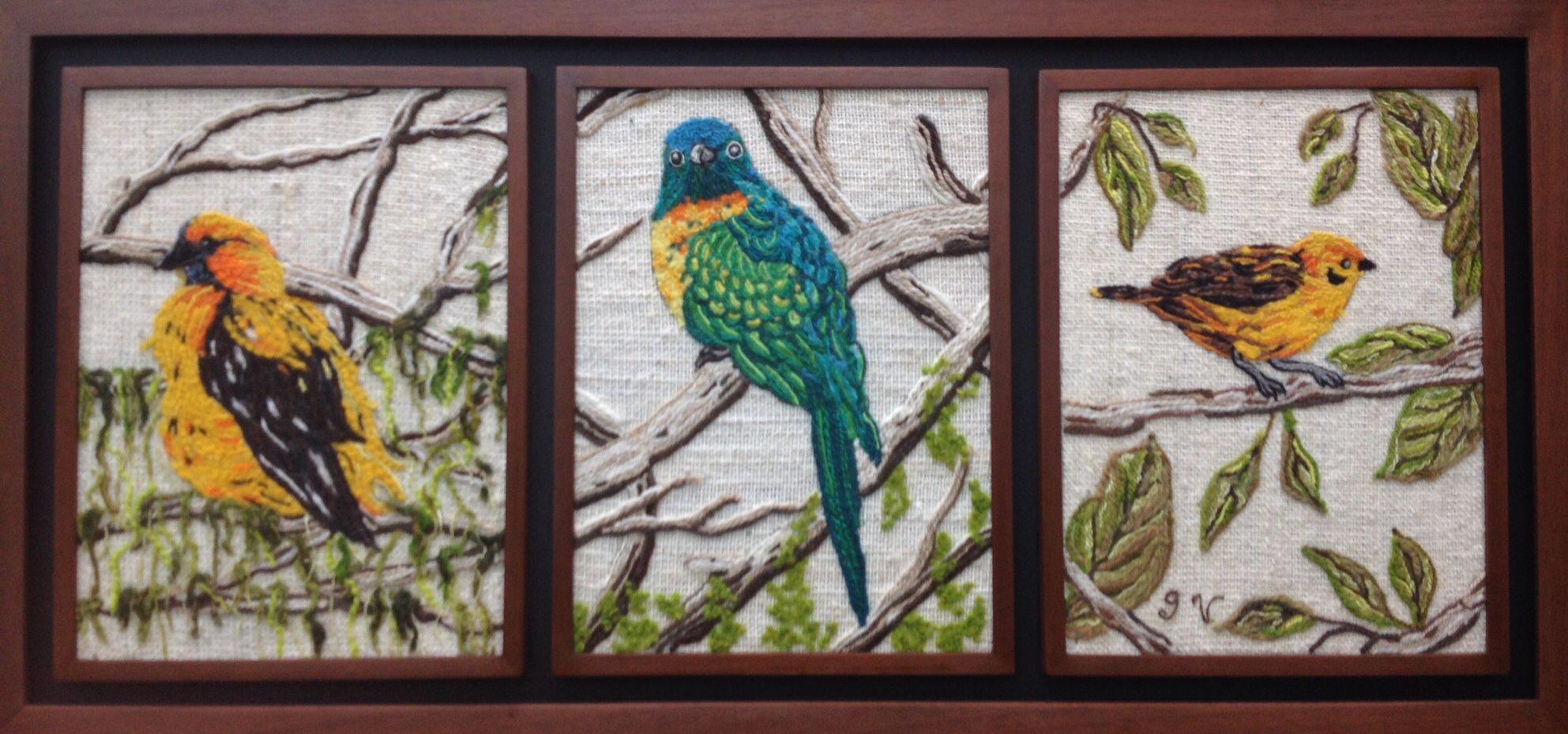 Aves Tríptico por Graciela Vega Del Teller de Collage en Lana
