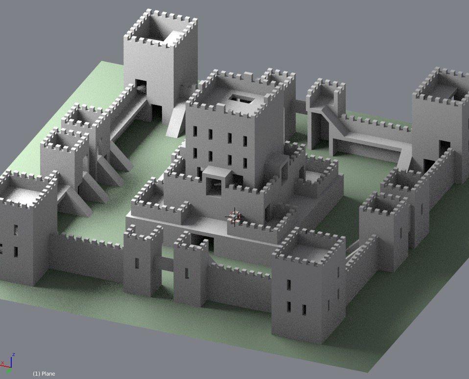 3d Generic Castle Model Minecraft Castle Blueprints Minecraft Building Blueprints Minecraft Castle