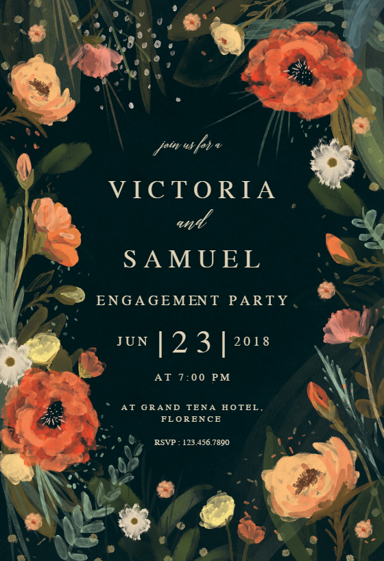 Wild Flowers Engagement Party Invitation Template Free Greetings Island Party Invite Template Bridal Shower Invitations Templates Engagement Party Invitations