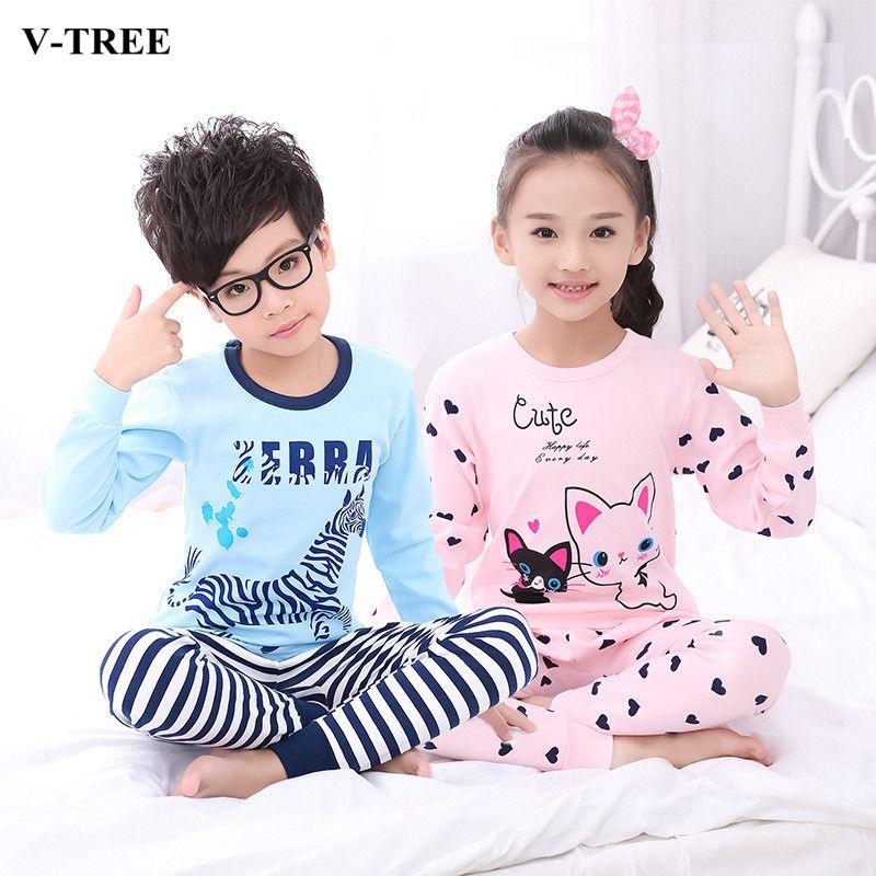 db2c8ccb6d86 V-TREE Children s Pajamas Cotton Pajamas For Girls Boys Pyjamas ...